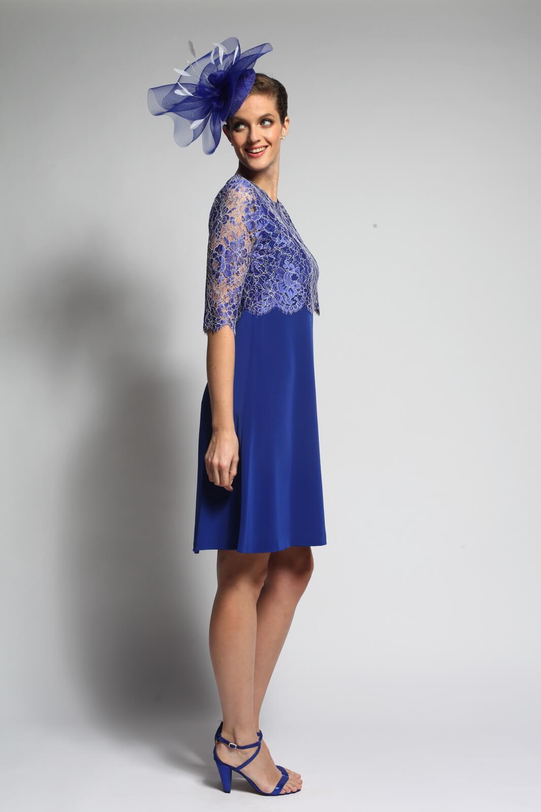 Robe Maïa, forme trapèze, en bleu majorelle, collection Paule Vasseur pour Croquelune