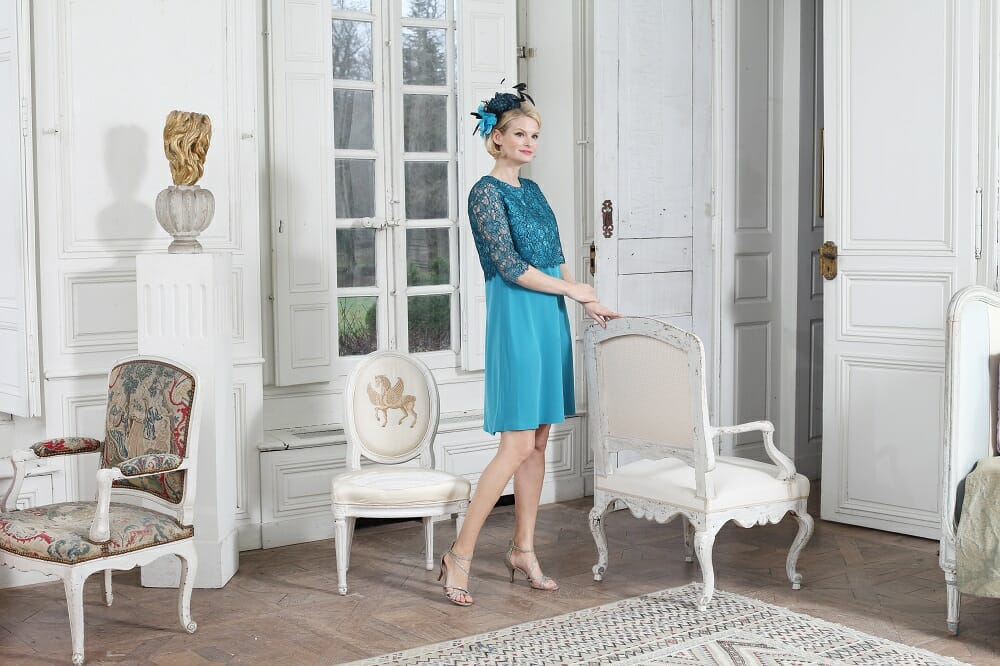 Robe Maïa, forme trapèze, couleur turquoise, collection Paule Vasseur pour Croquelune