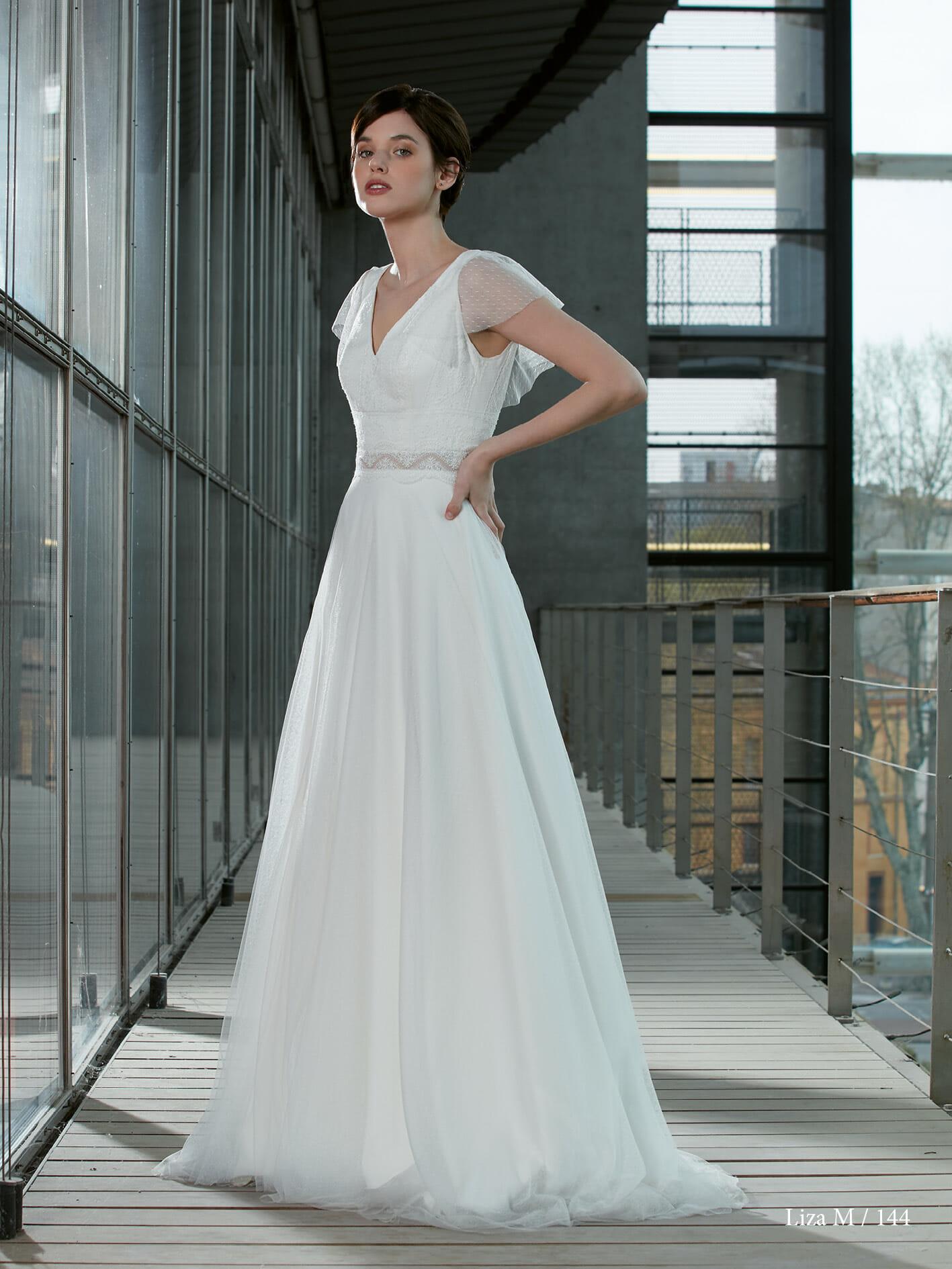 La robe de mariée Liza, fabriquée en France par Créations Bochet pour Croquelune