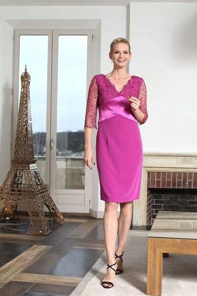 La robe de cocktail, crêpe couleur iris, Collection Paule Vasseur pour Croquelune